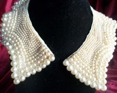 Vintage 1950s Glamorous Elaborate Baar & Beards Top Hit Champagne Pearl Beaded Collar.Scalloped Edging.Graduated to TINY Beads.