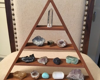 FREE SHIPPING Meditation Shelf, Triangle Shelf, Magic Pyramid Shelf, Cedar Shelf, Crystal Shelf