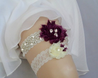 Luxury Garter Set/Plum Purple, Wedding Garter Set, Ivory Stretch Lace Garter, Rhinestone garter, Purple Flower Garter Set