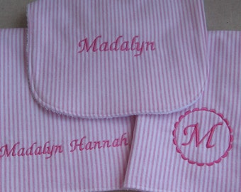 New Baby Gift Set - 2 Burp Cloths and Matching Bib in Soft Pink Stripe Flannel - PERSONALIZED