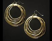 Brass Hoop Earrings - Brass Jewelry - Multiple Brass Rings - handmade in Austin, Tx