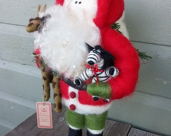 Wild Kingdom Christmas 17 inch Felted Wool Santa - NEW for 2016