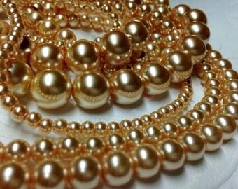 Glass Pearls Beige (4mm, 6mm, 8mm, 10mm, 12mm)