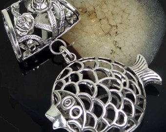 Scarf Pendant Silver Pewter Filigree Fish Rose Flower Slide (e7433)