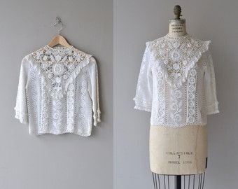 Highclere lace blouse | vintage 1970s crochet blouse | Edwardian-inspired crochet top