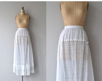25% OFF.... Reveille skirt | antique 1910s cotton skirt | white Edwardian lace skirt