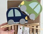 Car Art Display Cable,  Navy Blue and Green, Colorful, Transportation,  Kids Decor, Nursery Decor, Art Cable, Art Clips