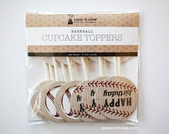 "SHOP THE SHELF Baseball ""Happy Birthday"" Cupcake Toppers >> shipped to you <<"