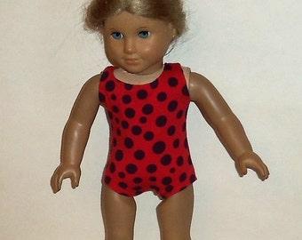 Bathing Suit, Red Polka Dot, Swimsuit, 18 inch Doll, Sleeveless Leotard, Dancewear Gymnastics, Beachwear, American Made, Girl Doll Clothes