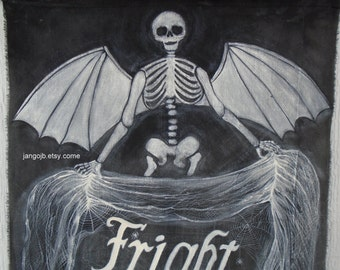 Halloween Porch Decor-Hand Painted for you...Winged Skeleton Fright Night Halloween Banner