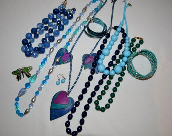 Blue and Aqua Hues Jewelry Collection......Ten PIeces