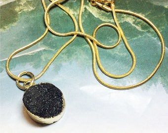 """Druzy Drop Necklace, Black Onyx Crystal, Gold plated edges, gold plated 18"""" snake chain, pendant jewelry"""