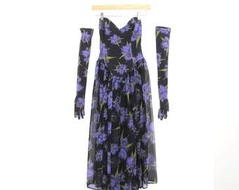Betsey Johnson Vintage Royal Purple Iris Print Semi Sheer Strapless Dress & Gloves