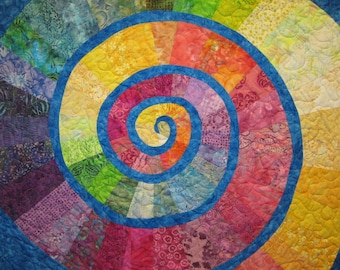 Colorful Spiral Wall Hanging Art Quilt