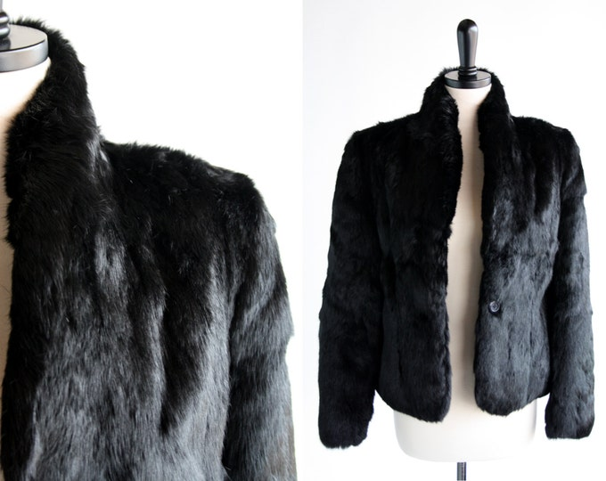 Featured listing image: Woman's Vintage Size Small Black Rabbit Fur Coat
