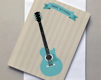 Birthday Guitar, Birthday Card, Guitar, For Him, For Her, sale