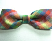 Multicolor Colorful Plaid New Pretied Bow Tie Adjustable Neckband Men Boys Handcrafted Bowtie Gustys