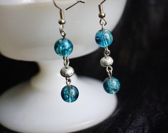 Blue and teal bead earrings
