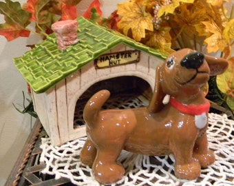 Dachshund figurine Statue  or Pet memorial - red doxie with a collar ring holder