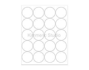 """6 SHEETS - 120 2"""" Blank Round Circle WHITE Stickers for Inkjet & Laser Printers. Size: 8-1/2""""x11"""" Standard Sheets"""
