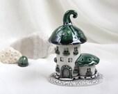 Emerald green summer house of tiny fairies -- Hand Made Ceramic Eco-Friendly Home Decor by studio Vishnya