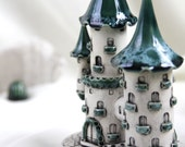 Reserved for Nancy - Emerald Castle of tiny fairies -- Hand Made Ceramic Eco-Friendly Home Decor by studio Vishnya