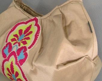 Large Shoulder Bag, Pleated Purse, Hobo Handbag, Applique Purse, Large Beige Purse, Fabric Shoulder Bag, Beige Shoulder Bag