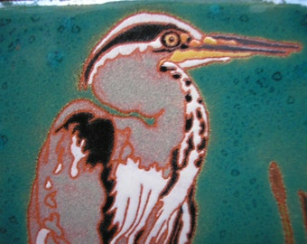 Great Blue Heron tile with rich detail in the arts and crafts style, great for bird lovers