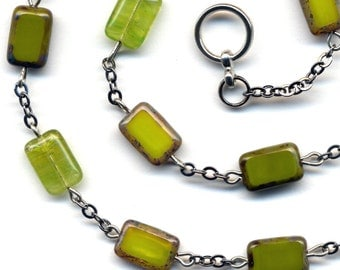 Green Necklace, Spring or Fall Color Necklace, Shades of Green  Rare Czech Glass Necklace, handmade Jewelry by AnnaArt72