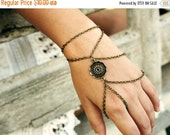 CLEARANCE SALE Hand Chain Bracelet  Piece Disk Circle Dreamcatcher Charm Two Drape Index Finger Hipster Bronze Chain Bohemian Hand Jewelry B