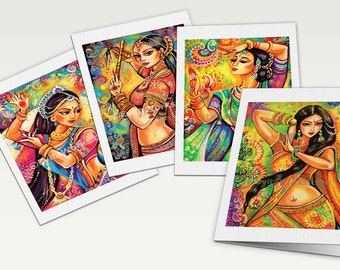 beautiful Indian women, feminine beauty bollywood dance Indian dance, Indian greeting card, woman card, art cards 4x Set, 6x8