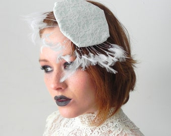 Mint Lace Feather Delicate Fascinator Hat