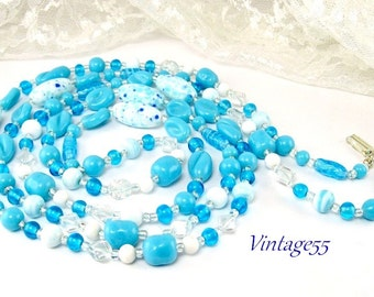 Necklace Beaded Turquoise White 55 inch