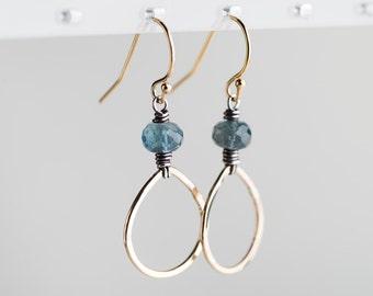 Yvet Forged Drop Earrings w/ Moss Aquamarine, Two Toned
