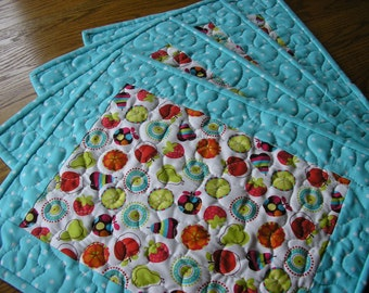 Quilted Placemats, Reversible, Modern Fruit Print - Set of 4