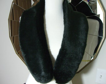 Faux Fur COLLAR,  Women's Fur Neckwarmer, Fur Collar, Smooth Black Beaver Faux Fur Collar