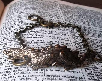 Oxidized Brass Asian Luck Dragon Bracelet Cuff