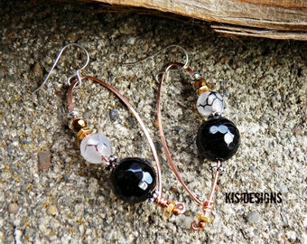 Agate Earrings with Copper and Sterling Silver
