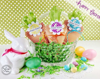 Easter Egg Hunt Treats  / Happy Easter Tags / Paper Carrots / Treat Bags / Kids Easter Basket / Easter Carrots