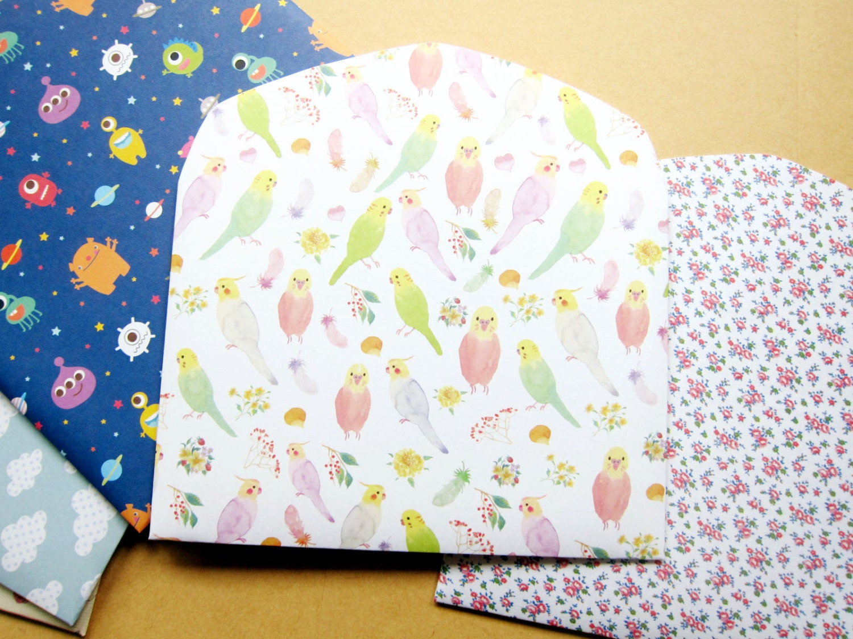 set of 3 choose your pattern handmade envelope gift card