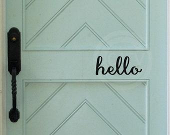 Hello front door vinyl lettering wall decal sticker with arrow