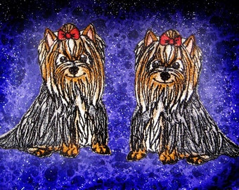 Cute Smiling Yorkie Yorkshire Terrier Dog Iron on Patch Applique
