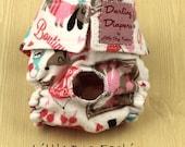 XS Dog Diapers Paris Bonjour Print on White