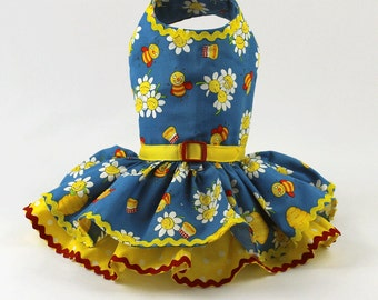 Dog Dress, Dog Harness dress, Smiling Daisies and Honey Bees with polka dots
