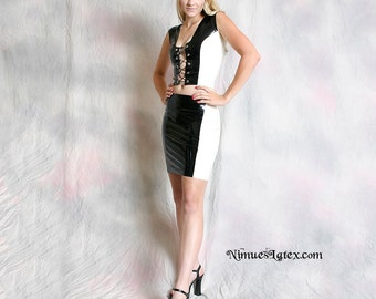 Two-Tone Latex Mini Skirt, made-to-order in a variety of colors and sizes.