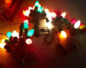 CHRISTMAS Lights Vintage Antique Old Big Bulbs