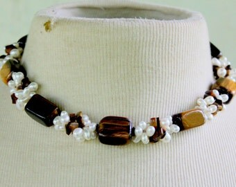 Tigers Eye Stone Freshwater Pearl Necklace Statement
