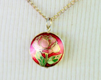 Cloisonne Necklace Dainty Red Enameled Flower