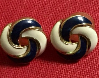 Vintage earrings navy blue and white love not stud style gold tone pierced ears
