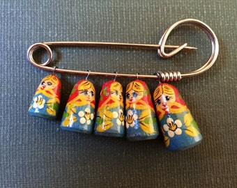 Vintage Russian Doll Matryoshka Brooch Pin